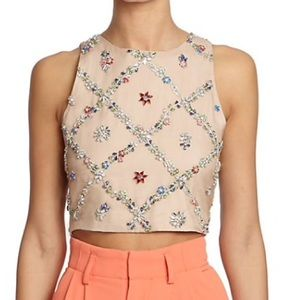 Rhinestone pattered cropped top